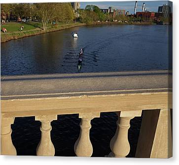 Rowinfg Towards The Weeks Bridge Charles River Harvard Square Cambridge Ma Canvas Print by Toby McGuire