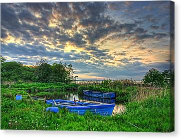 Rowing Boats At Day Canvas Print by Kim Shatwell-Irishphotographer