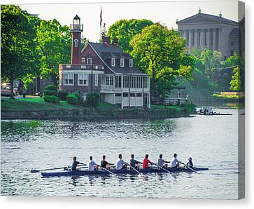 Canvas Print featuring the photograph Rowing Crew In Philadelphia In The Spring by Bill Cannon