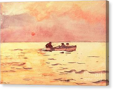 1890 Canvas Print - Rowing Home by Winslow Homer