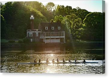 Canvas Print featuring the photograph Rowing In Front Of Segley Club by Bill Cannon