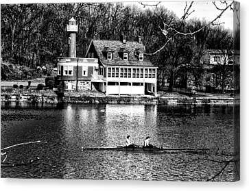 Rowing Past Turtle Rock Light House In Black And White Canvas Print by Bill Cannon