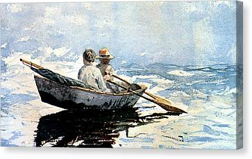 Rowing The Boat Canvas Print by Winslow Homer