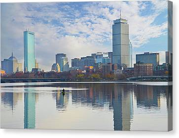 Rowing The Charles River - Boston Massachusetts Canvas Print by Bill Cannon