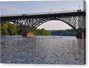 Rowing Under The Strawberry Mansion Bridge Canvas Print by Bill Cannon