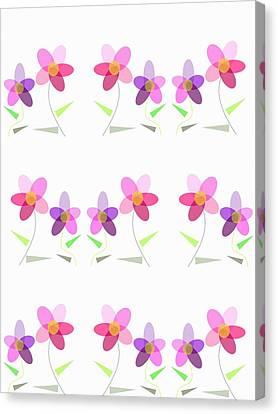 Rows Of Flowers Canvas Print by Kathleen Sartoris
