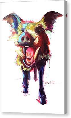 Roxie The Wild Boar Canvas Print by Amy Eichler