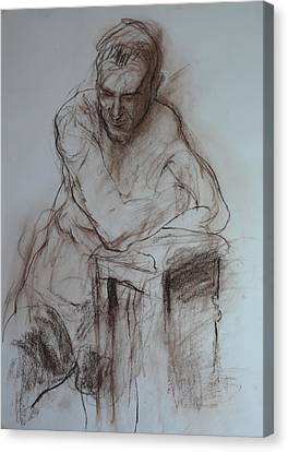 Roy Leaning On Stool. Canvas Print