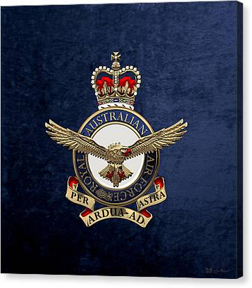 Canvas Print featuring the digital art Royal Australian Air Force -  R A A F  Badge Over Blue Velvet by Serge Averbukh