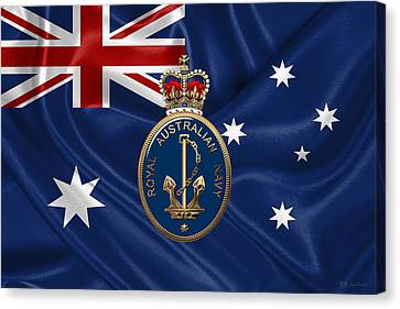 Royal Australian Navy -  R A N  Badge Over Australian Flag Canvas Print