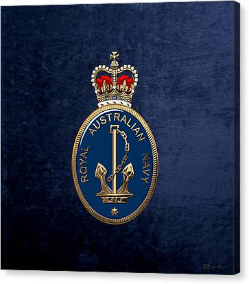 Royal Australian Navy -  R A N  Badge Over Blue Velvet Canvas Print