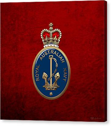 Royal Australian Navy -  R A N  Badge Over Red Velvet Canvas Print