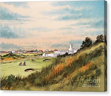 Canvas Print featuring the painting Royal Birkdale Golf Course 18th Hole by Bill Holkham