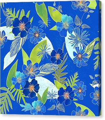 Royal Blue Aloha Tile 3 Canvas Print