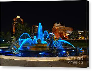 Royal Blue J. C. Nichols Fountain  Canvas Print by Catherine Sherman