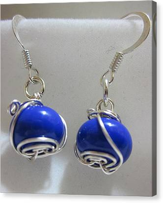 Royal Blue Wire Wrapped Earrings Canvas Print by Janet  Telander