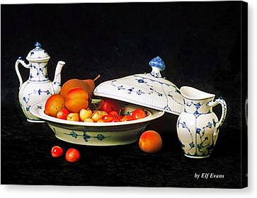 Canvas Print featuring the photograph Royal Copenhagen And Fruits by Elf Evans