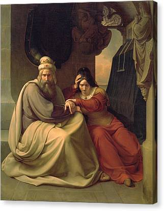 Royal Couple Mourning For Their Dead Daughter Canvas Print by Carl Friedrich Lessing
