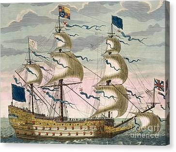 Royal Flagship Of The English Fleet Canvas Print by Pierre Mortier