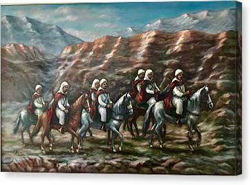 Canvas Print featuring the painting Royal Knights by Laila Awad Jamaleldin