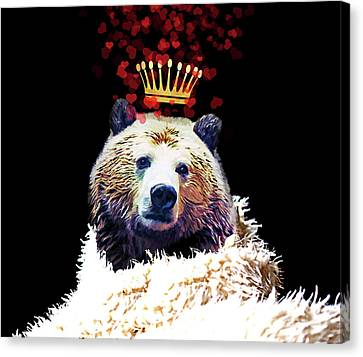 Royal Love Grizzly Bear, Golden Crown Of Hearts Canvas Print by Tina Lavoie