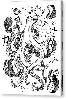 Royal Octopus Black And White Canvas Print by Kenal Louis