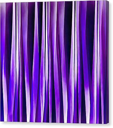 Royal Purple, Lilac And Silver Stripy Pattern Canvas Print