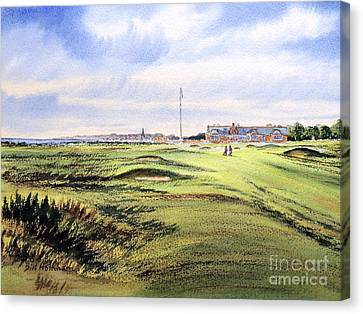 Canvas Print featuring the painting Royal Troon Golf Course by Bill Holkham