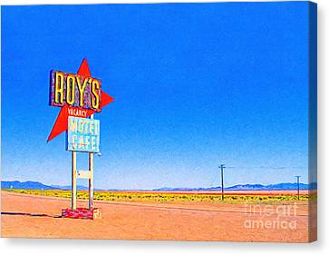 Roys Motel And Cafe Canvas Print by Wingsdomain Art and Photography
