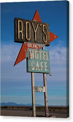 Canvas Print featuring the photograph Roy's Motel Cafe by Matthew Bamberg