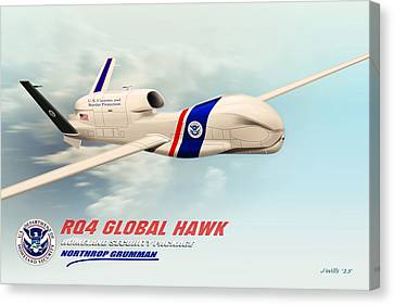 Rq4 Global Hawk Drone United States Canvas Print by John Wills