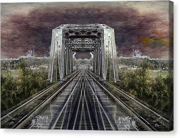 Rr Bridge Textured Composite Canvas Print by Thomas Woolworth