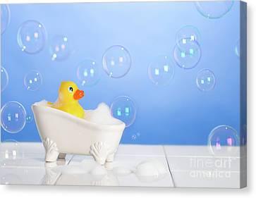 Rubber Duck In Bath Canvas Print by Amanda Elwell