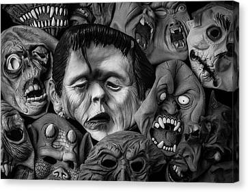 Rubber Halloween Masks Canvas Print by Garry Gay