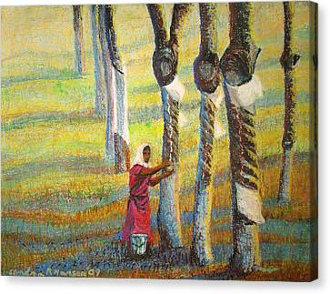 Rubber Tapping At Dawn Canvas Print by Art Nomad Sandra  Hansen