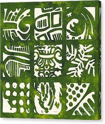 Linoleum Cut Canvas Print - Rubbing Patterns Linocut by Kayla Race