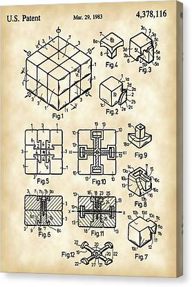 Rubik's Cube Patent 1983 - Vintage Canvas Print by Stephen Younts