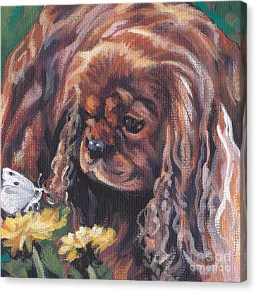 Canvas Print featuring the painting Ruby Cavalier King Charles Spaniel by Lee Ann Shepard