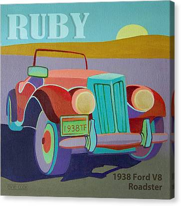 Ruby Ford Roadster Canvas Print by Evie Cook