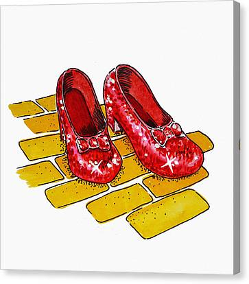 Kid Wall Art Canvas Print - Ruby Slippers The Wizard Of Oz  by Irina Sztukowski