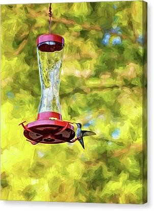 Ruby-throated Hummingbird 2 - Impasto Canvas Print