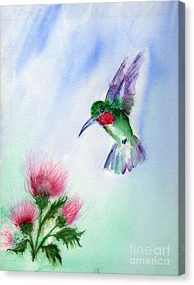Ruby Throated Hummingbird Canvas Print by Doris Blessington