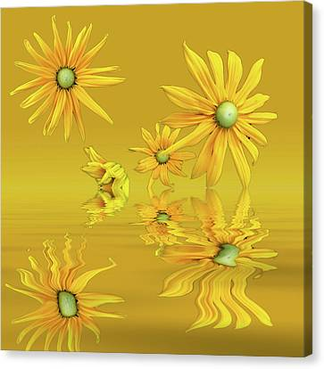 Canvas Print featuring the photograph Rudbekia Yellow Flowers by David French