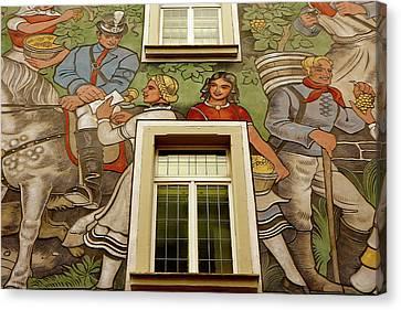 Canvas Print featuring the photograph Rudesheim Mural by KG Thienemann