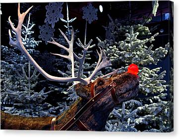 Rudolph With Your Nose So Bright Canvas Print by Keenpress