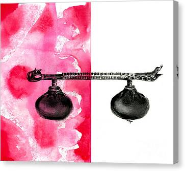 Rudra Veena - Musical Instrument - Charcoal And Ink Canvas Print