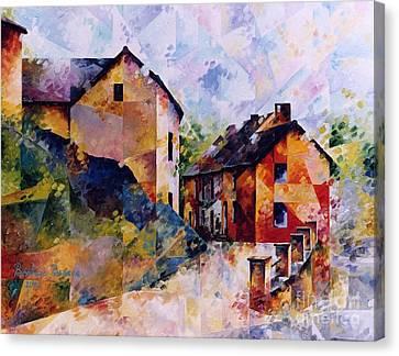 Inspirational. Pointillism Canvas Print - Rue De L Egalite by Beatrice BEDEUR
