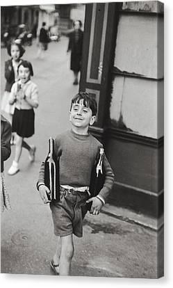 Rue Mouffetard By H. Cartier Bresson Canvas Print by Hans Wolfgang Muller Leg