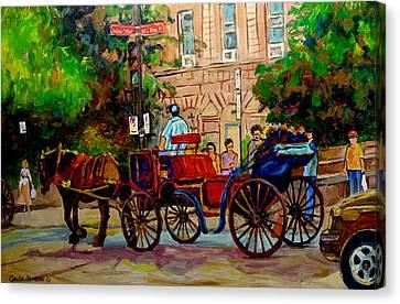 Rue Notre Dame Montreal Canvas Print by Carole Spandau