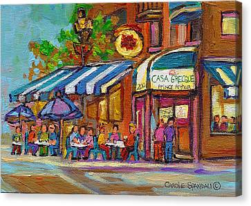 Rue Prince Arthur Casa Grecque Montreal Canvas Print by Carole Spandau